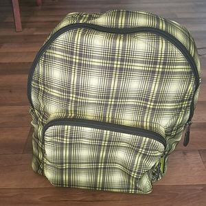 Coach Packable Backpack Plaid Print Neon Yellow